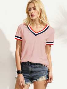 Striped Trim Slub T-shirt