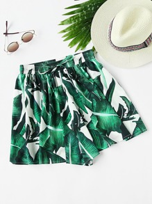 Foliage Print Shirred Waist Shorts