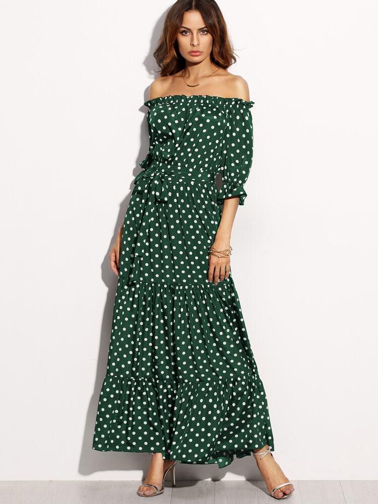 096a8e4dc12 Зеленое платье в горошек с открытыми плечами