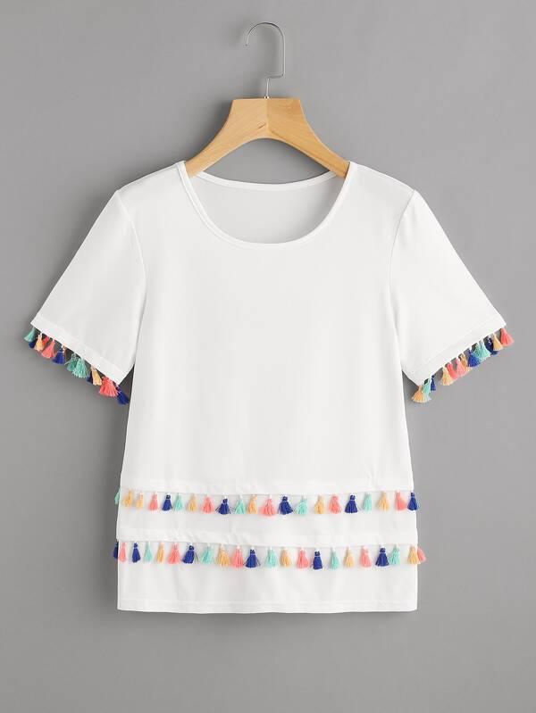 e7ff2e014e60 T-shirt con bordi con nappe | SHEIN