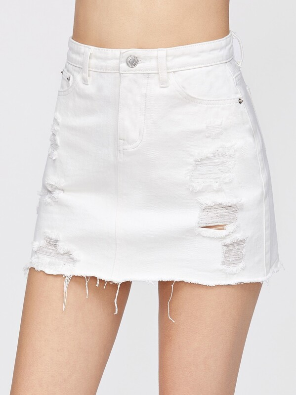 Distressed Fray Hem Denim Skirt, White, Jovana