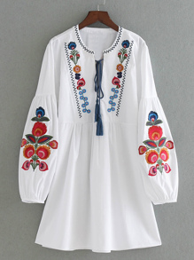 Drop Shoulder Flower Embroidery Tassel Tie Dress