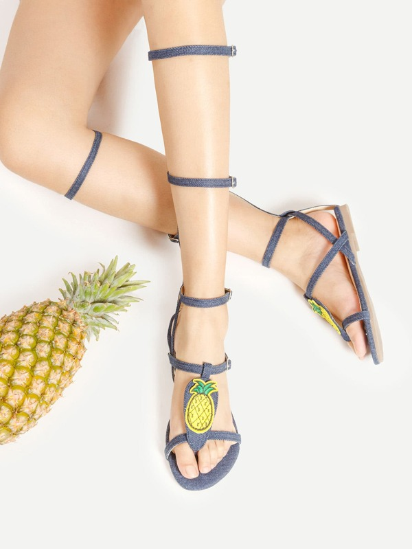 12c7f91b8cc Two Tone Knee High Gladiator Sandals -SheIn(Sheinside)