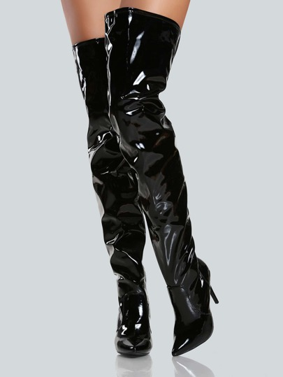 Faux Leather Shiny Thigh High Pump BLACK