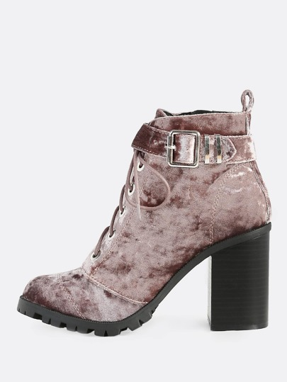 Crushed Velvet Lace Up Textured Sole Booties MAUVE