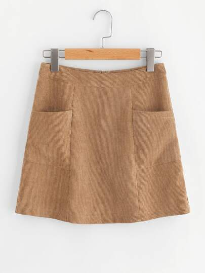 Patch Pocket Front Cord Skirt