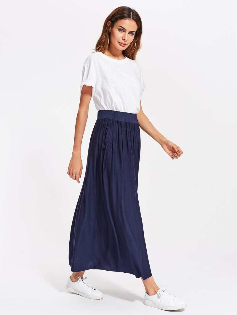 plisada larga elástica plisada Falda Falda Falda plisada elástica Falda larga larga elástica sBthdCxrQ