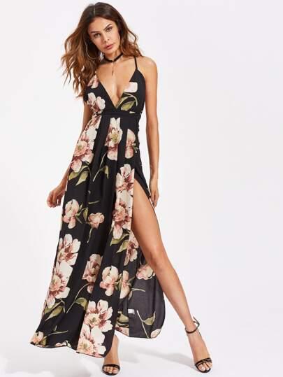 b25506f4560 High Split Cross Back Floral Maxi Cami Dress