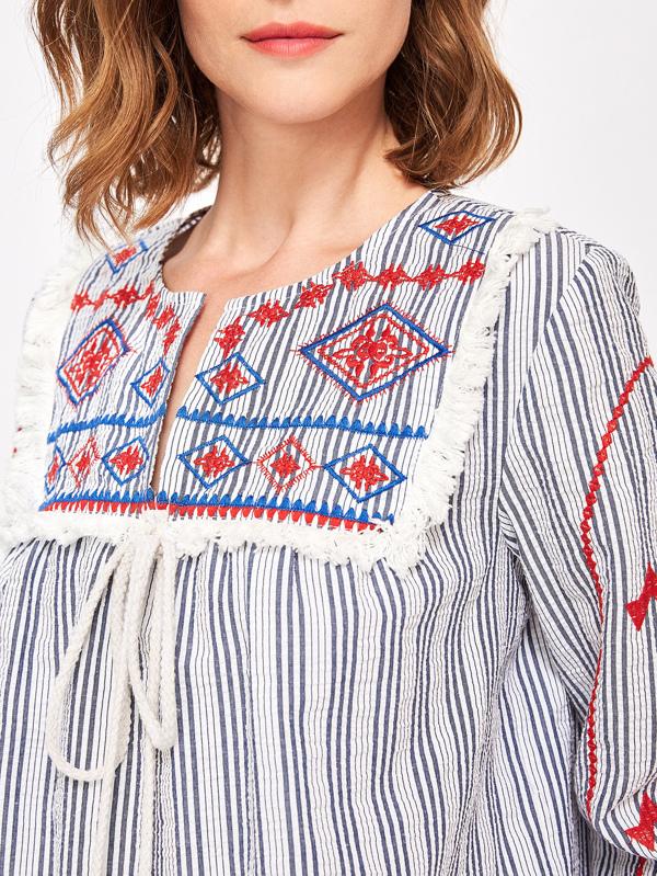 15f8a1ea47 Pom Pom Tie Tassel Lace Trim Embroidered Top   SHEIN