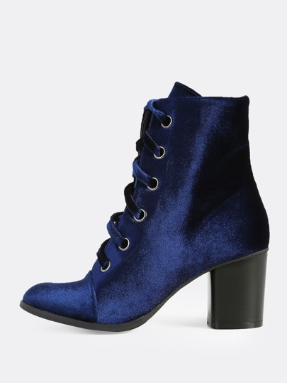 Velvet Tie Up Booties NAVY