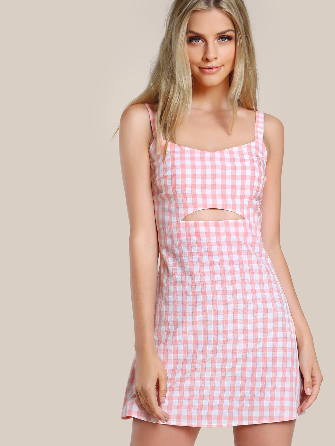 Cutout Midriff Gingham Pinafore Dress SheInSheinside