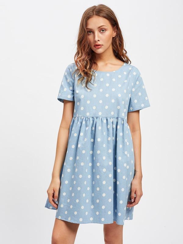 94ea8a3efcb Polka Dot Print Smock Dress