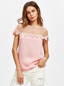 Cutout Yoke Lace Trim Top