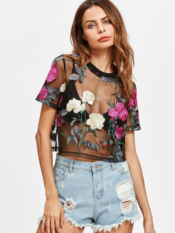 006d001c20 Flower Embroidered Mesh Top   SHEIN