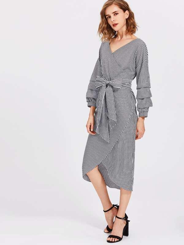 Kleid mit Rüschen auf Ärmeln und Chorhemd - German SheIn(Sheinside)