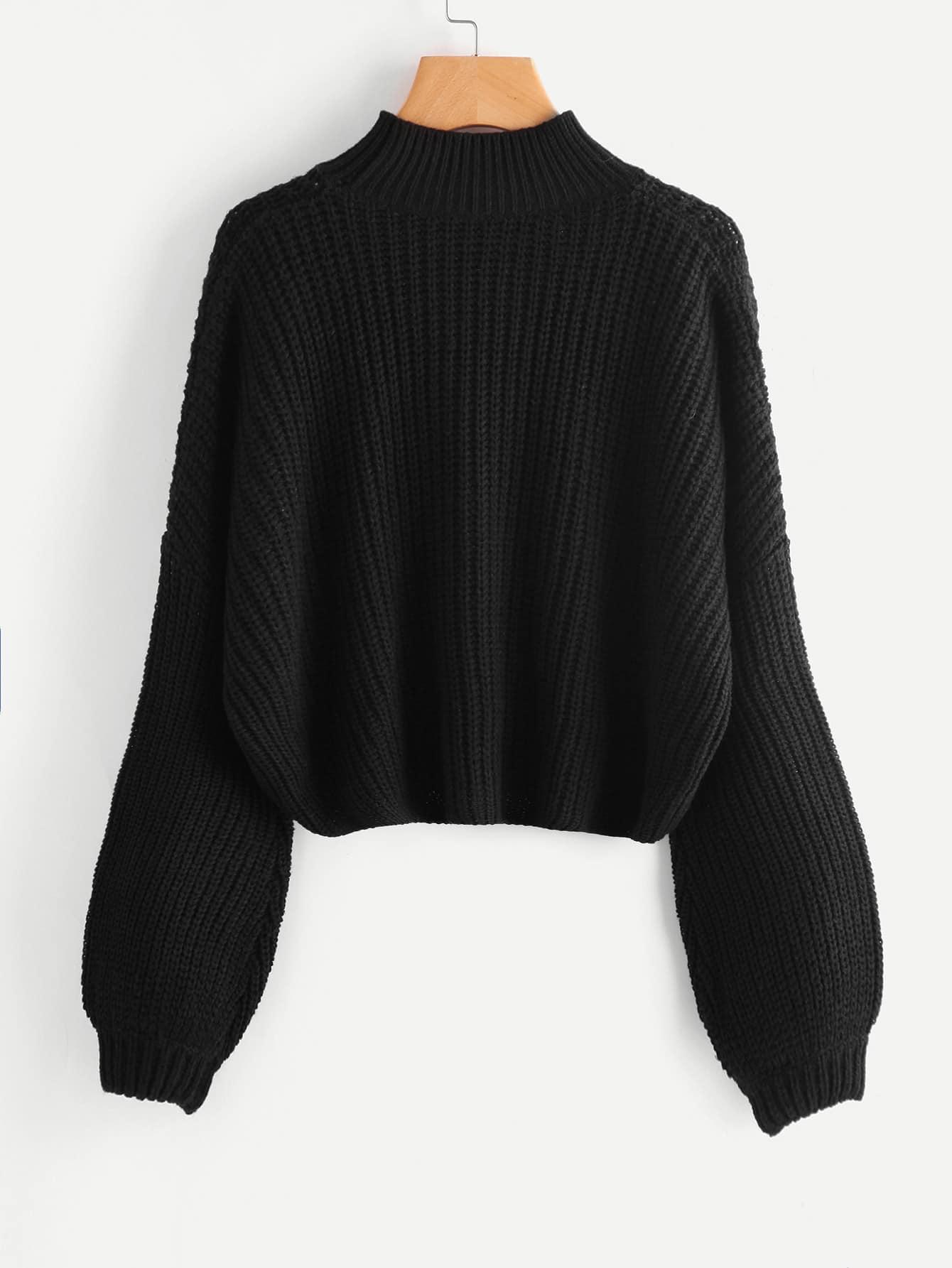 pullover mit sehr tief angesetzter schulterpartie und bishop rmeln german shein sheinside. Black Bedroom Furniture Sets. Home Design Ideas