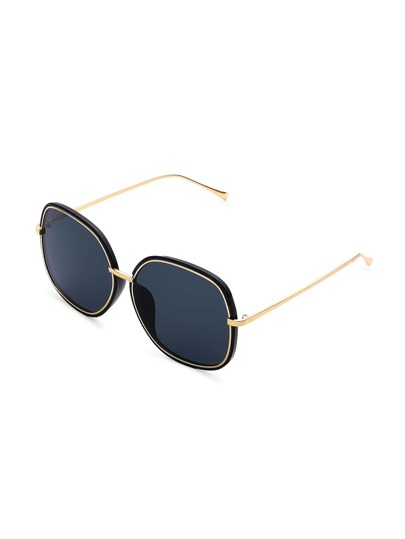 Contrast Trim Oversized Sunglasses