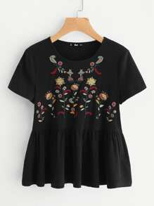 Flower Embroidered Ruffle Hem Tee