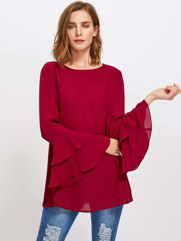d9321c6568 Tiered Fluted Sleeve Tunic Top   SHEIN