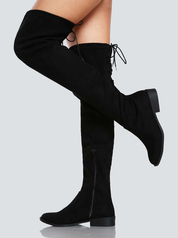 9eb6ee68335 Faux Suede Back Lace Up Thigh High Boot BLACK