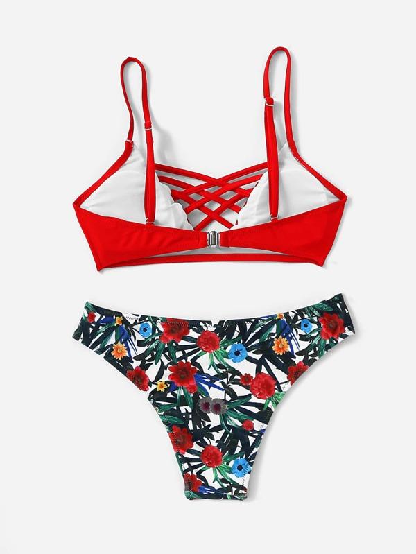 12897782dbb Criss Cross Top With Floral Print Bikini Set