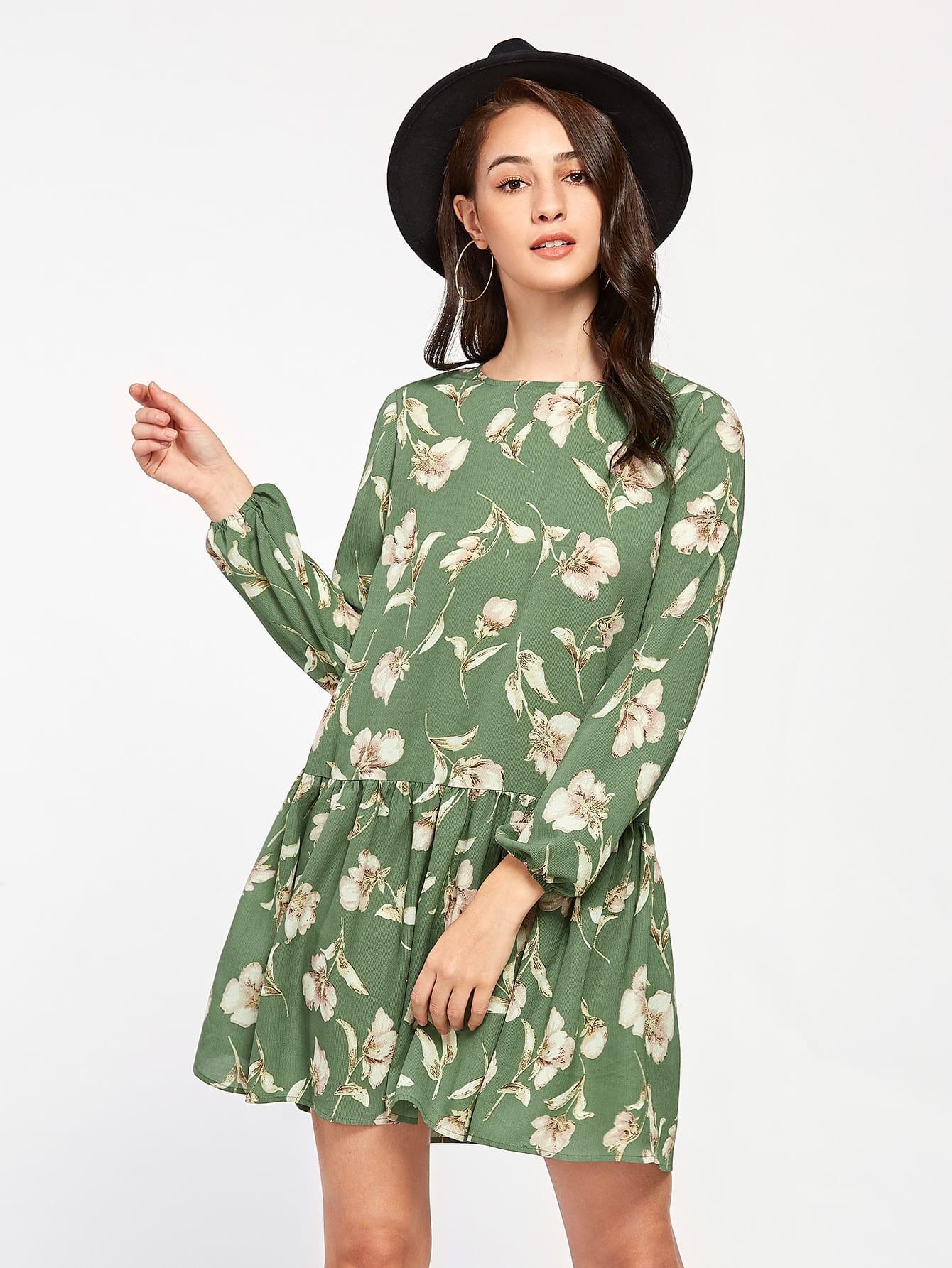 Allover Flower Print Lantern Sleeve Drop Waist Dress