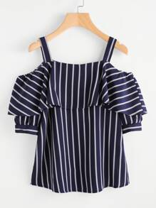 Open Shoulder Flounce Trim Striped Top