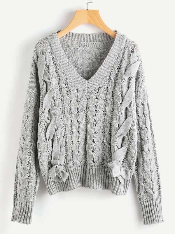 Lace Up Cable Knit Jumper 580fd7ee8