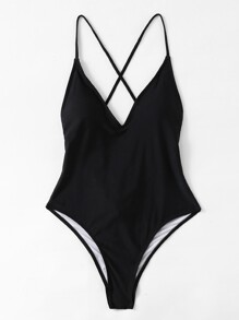 Cross Back Ruched Detail Plunge Swimsuit