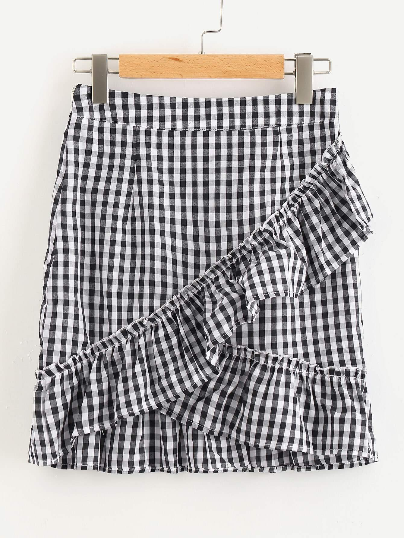 gingham wrap mini skirt