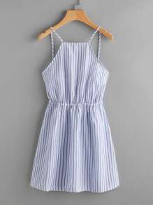 Striped Cut Out Bow Tie Open Back Cami Dress