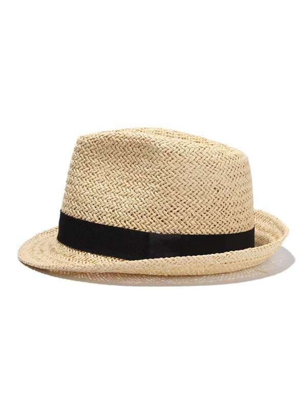 3d0711c7018 Contrast Band Straw Fedora Hat -SHEIN(SHEINSIDE)