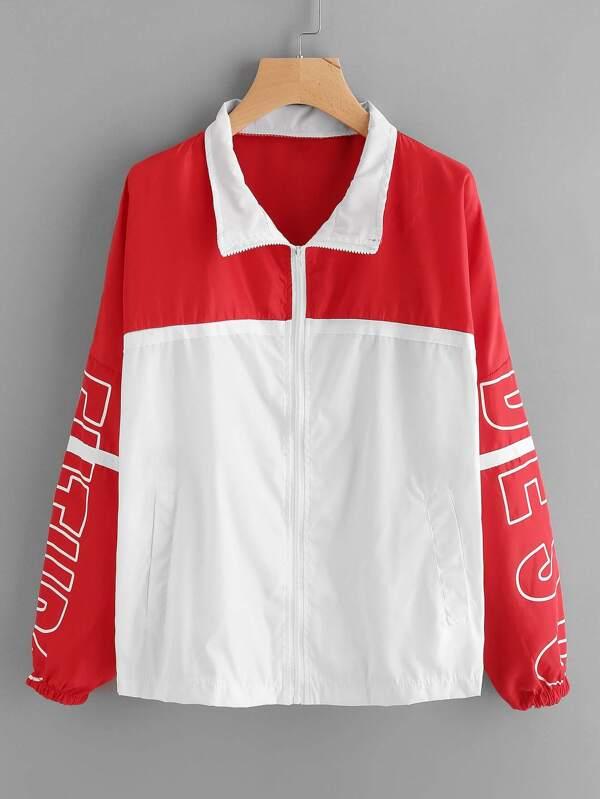 Color Block Letter Print Zip Up Jacket SheInSheinside