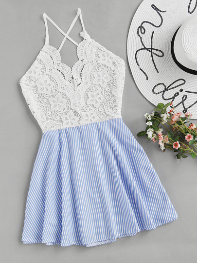 Open Back Criss Cross Striped Lace Panel Dress