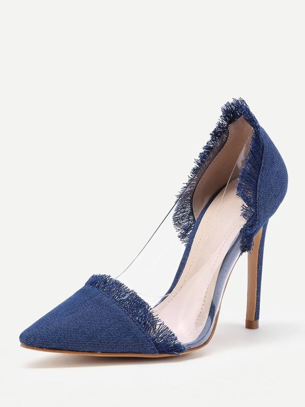 f4672af7a3b Clear Detail Pointed Toe Denim Heels