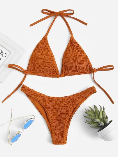 Avec Ensemble Nœud Triangle Bikini Et Plis Des De 80wvmNn