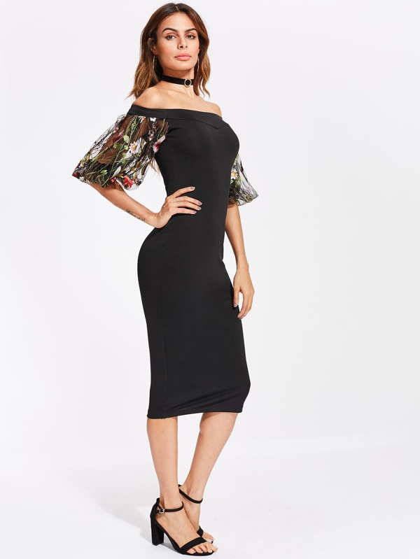 be3ffae46075a Bardot Dress With Embroidered Mesh Puff Sleeve | SHEIN UK