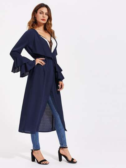 Layered Bell Sleeve Self Tie Duster Coat