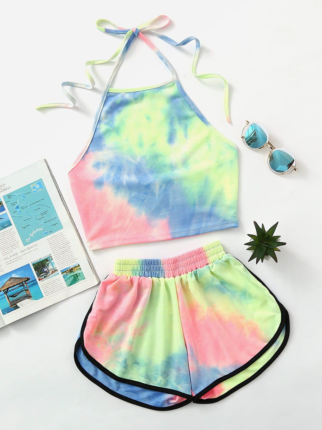 Girls Tie Dye T-shirt & Dolphin Shorts Set -SheIn(Sheinside)