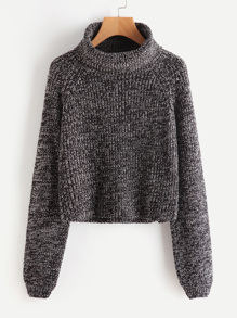 Roll Neck Raglan Sleeve Marled Knit Jumper