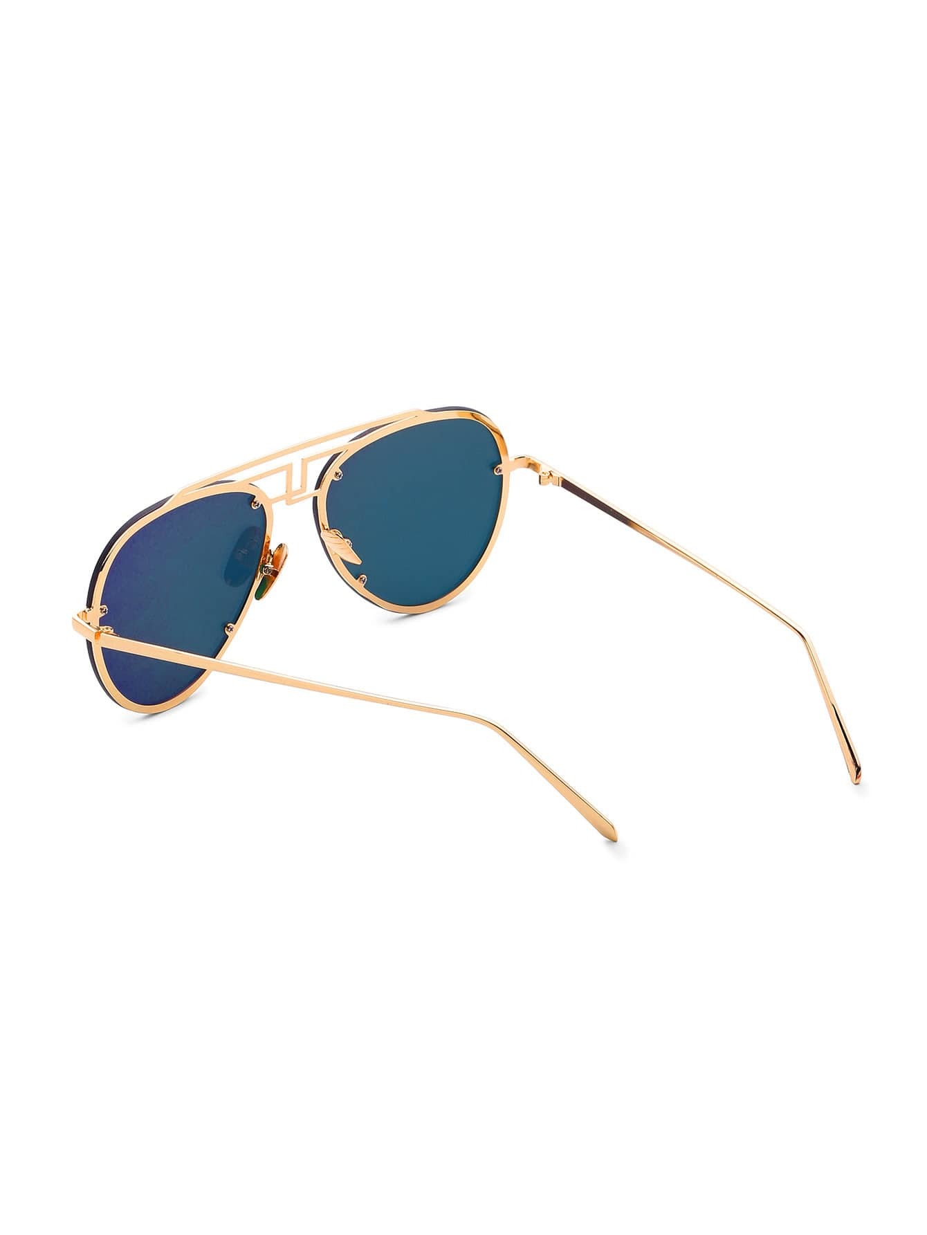 Attrayant Asymmetrical Top Bar Rimless Aviator Sunglasses