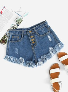 Distressed Fray Hem Denim Shorts
