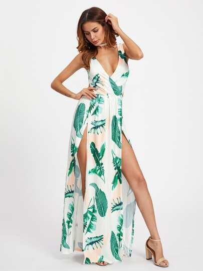M-Slit Knot Back Surplice Palm Print Dress