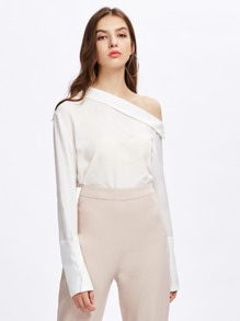 Asymmetric Foldover Shoulder Wide Cuff Blouse