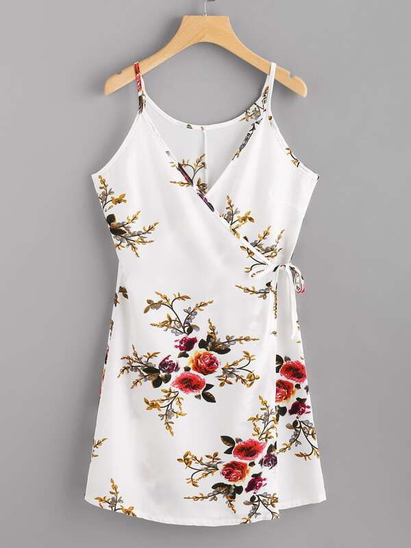 61d42f143d7d1 Floral Print Random Wrap Self Tie Cami Dress | SHEIN