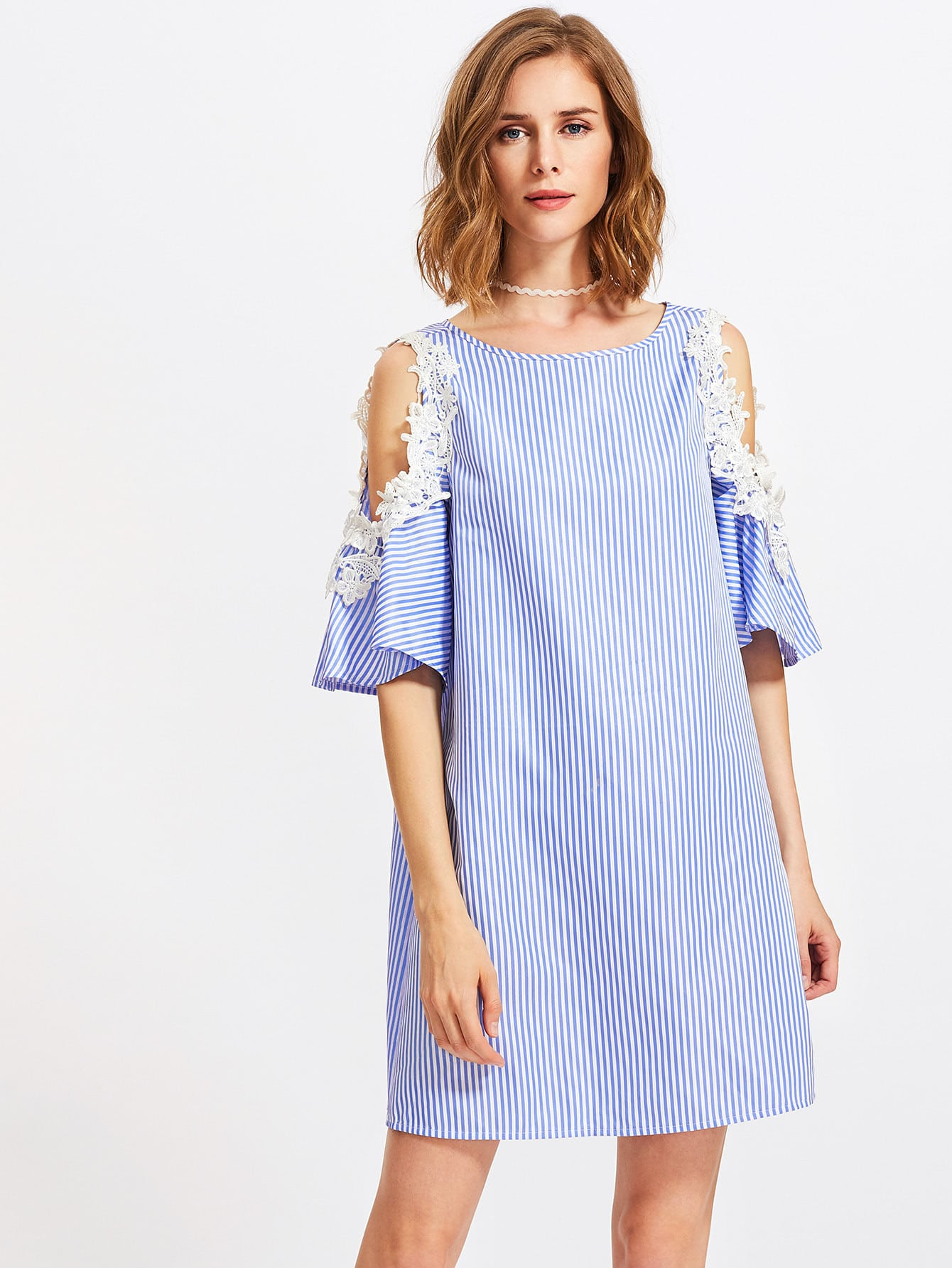 f9c336006c4 Lace Applique Open Shoulder Bell Sleeve Dress EmmaCloth-Women Fast ...