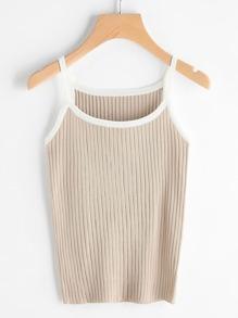 Contrast Trim Ribbed Knit Cami Top SHEIN