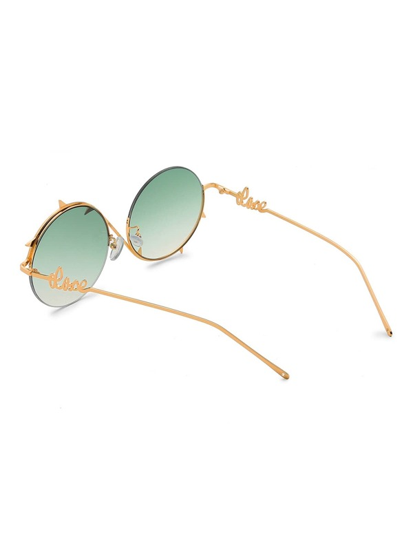 78fc74a43dd Ombre Lens Asymmetrical Frame Round Sunglasses