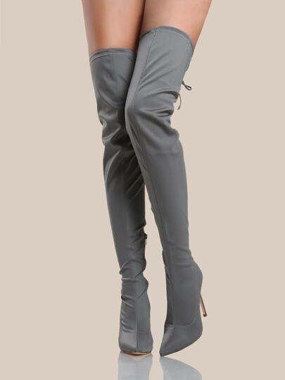 a3e0c26ccad Solid Point Toe Thigh High Boots GREY
