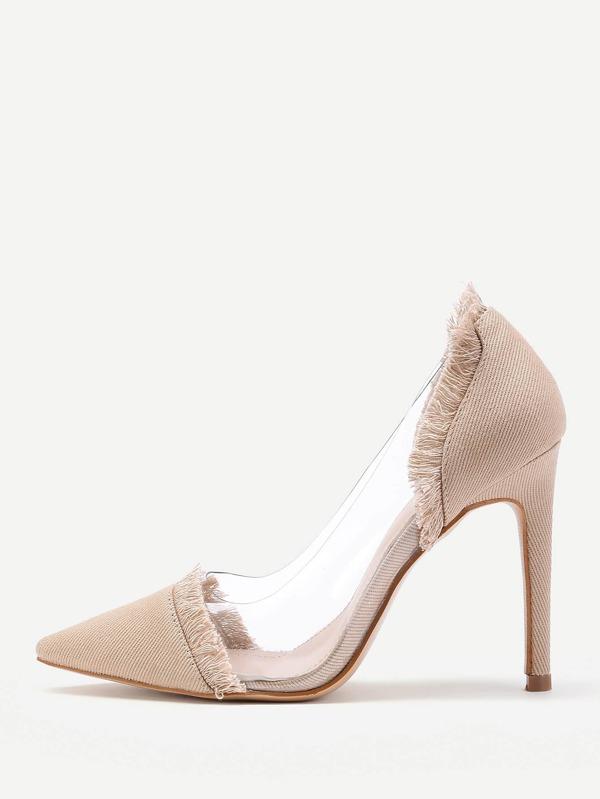 Chaussures de talons transparentes pointues en denim ,French  SheIn(Sheinside)